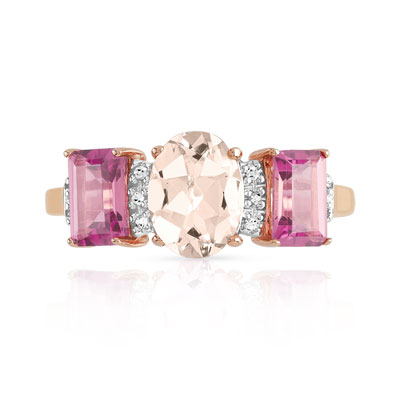Bague or 375 rose pierres fines et diamant - vue 3
