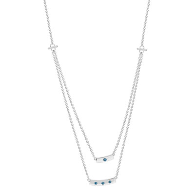 Collier or 375 blanc diamant bleu - vue 1
