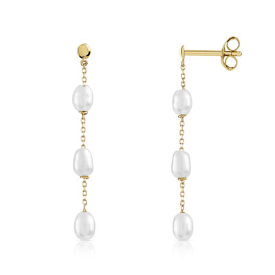 Boucles d'oreilles or 375 jaune perle de culture de Chine - vue 1
