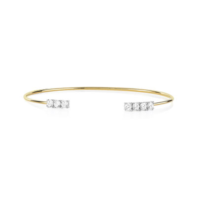 Bracelet or 375 2 tons zirconia - vue 1