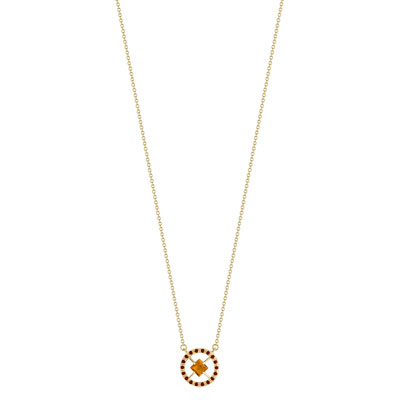 Collier or 375 citrine grenats 45 cm - vue V1