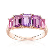 Bague or 375 rose pierre fine