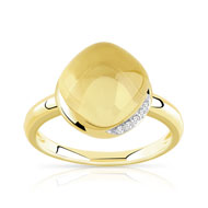 Bague or 375 2 tons citrine et diamant