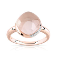 Bague or rose 375 quartz rose et diamant