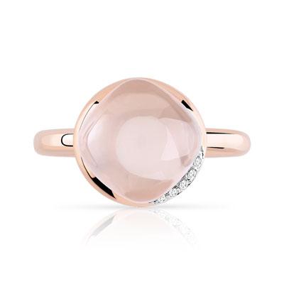 bague diamant quartz rose
