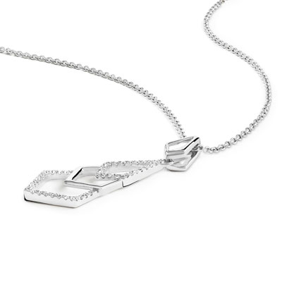 Collier or 375 blanc diamant - vue VD1