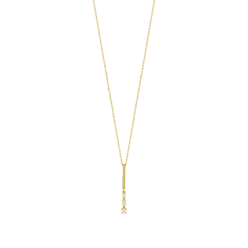 Collier or 375 jaune zirconia - vue 1