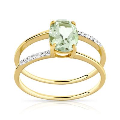 bague or blanc quartz vert