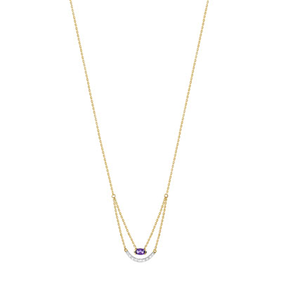 Collier or 375 2 tons amethyste et diamant - vue V1
