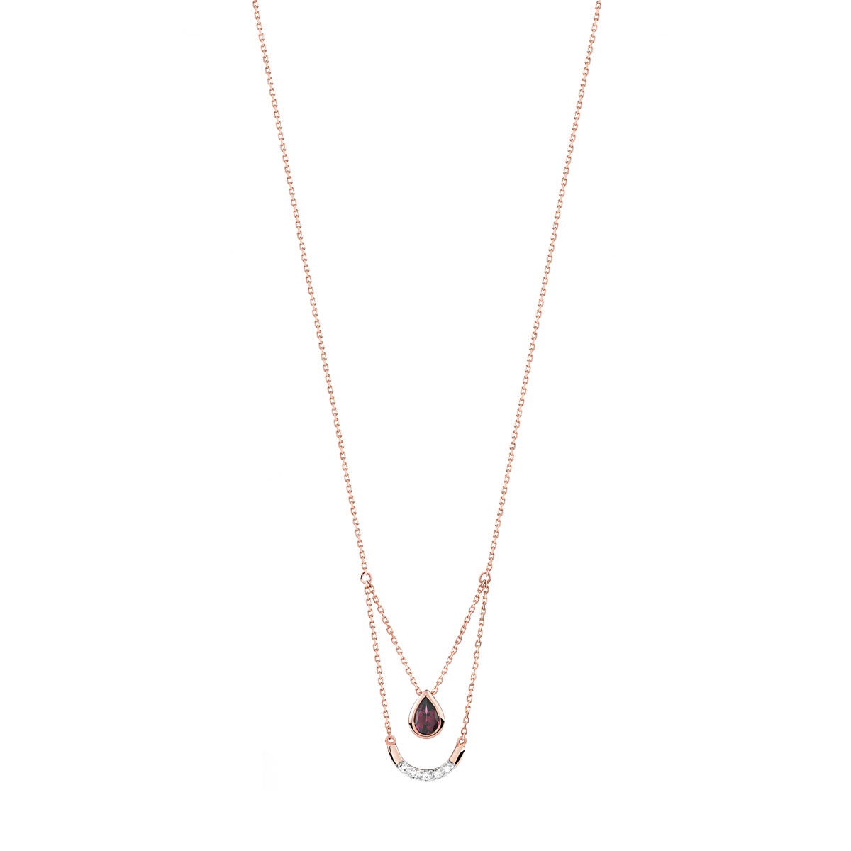 Collier or 375 rose grenat rhodolite et diamant - vue V1