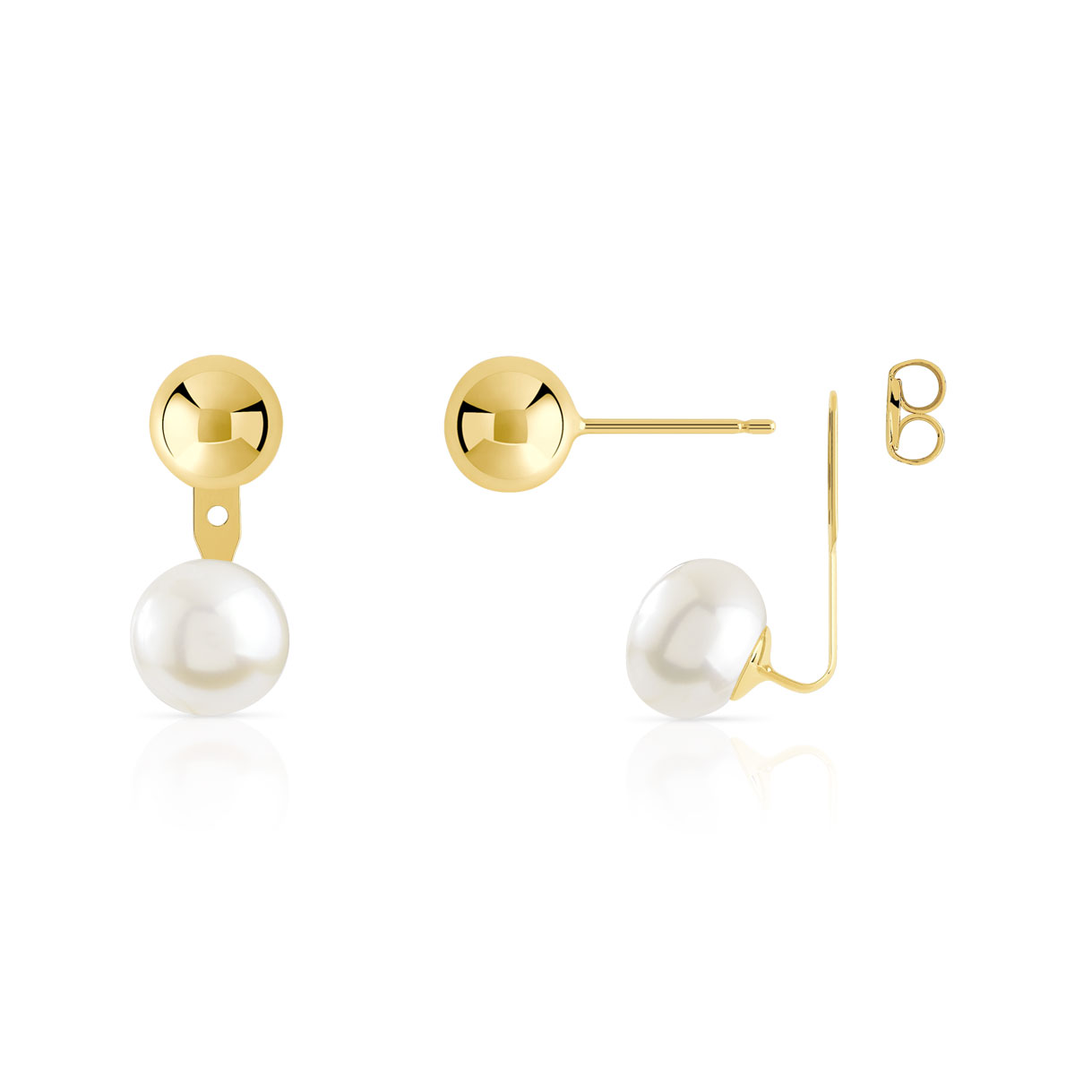 Boucles d' oreilles or 375 jaune perle de culture de chine - vue V1