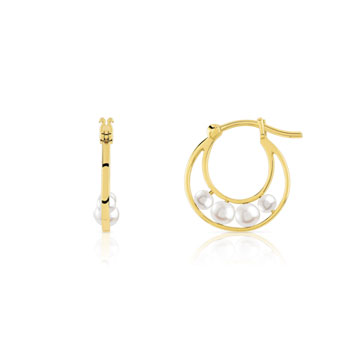 Boucles d'oreilles or 375 jaune perle de culture de chine