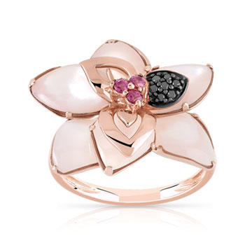 Bague or 375 rose fleur grenats rhodolites diamants et nacre rose