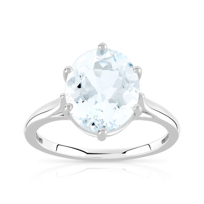 Bague or 375 blanc aigue-marine - vue V1