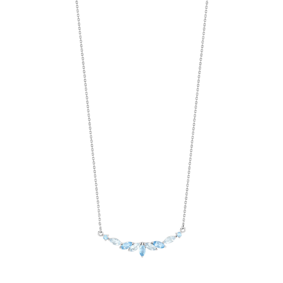 Collier or 375 blanc topaze bleue traitée - vue V1