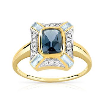 49631f48af6 Bague or 375 2 tons topaze bleue traitée et diamant
