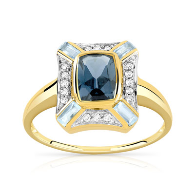 5276c7acc57 Bague or 375 2 tons topaze bleue traitée et diamant - Femme - Bague ...