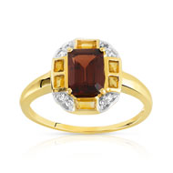 Bague or 375 2 tons grenat et citrine et diamant