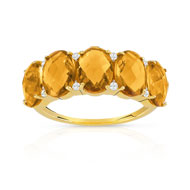 Bague or 375 jaune citrine et diamant