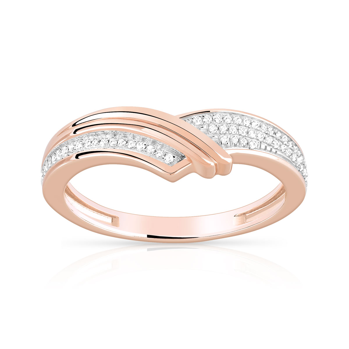 Bague or 375 rose diamant - vue 1
