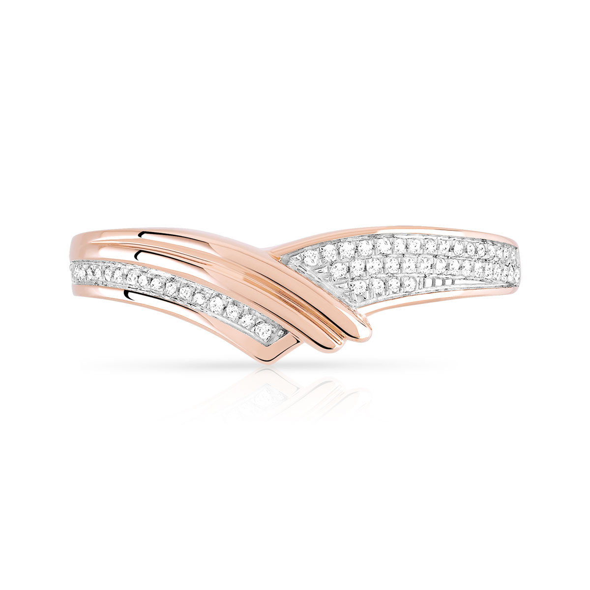 Bague or 375 rose diamant - vue 3