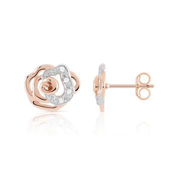 Boucles d'oreilles or 375 rose diamant