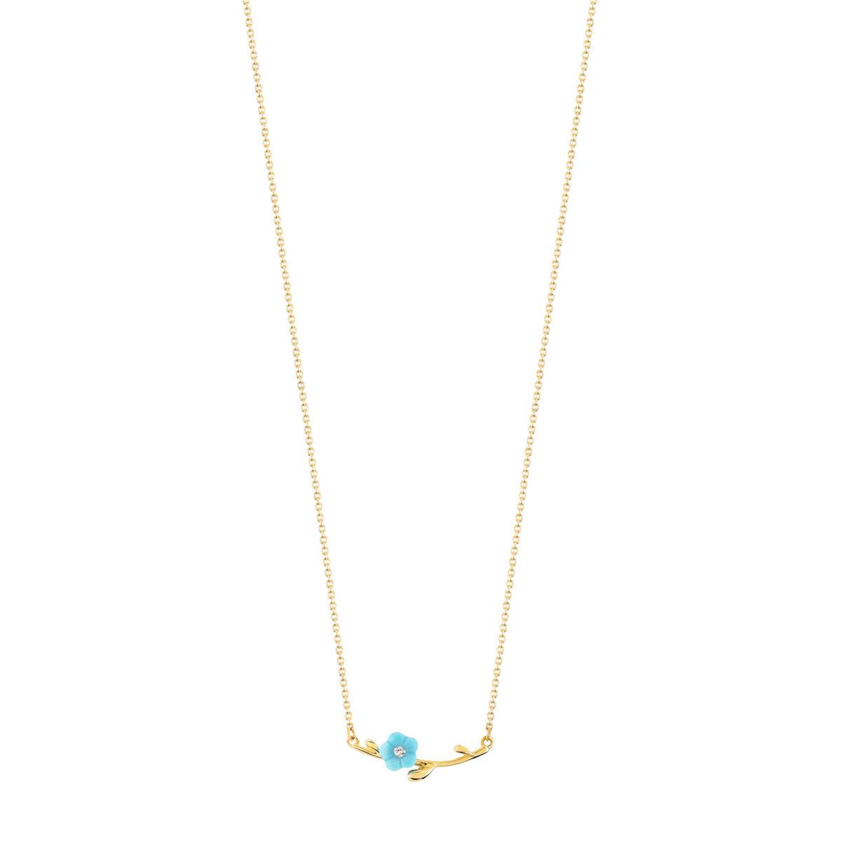 1c999851c9593 Collier or 375 jaune turquoise et diamant - Femme - Collier   MATY