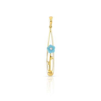 efad054cd5ded Pendentif or 375 jaune turquoise et diamant - Femme - Pendentif   MATY