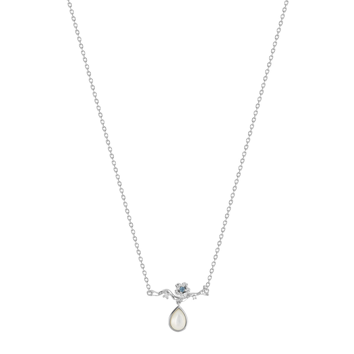 Collier or 375 blanc topaze bleue nacre et diamant - vue 1