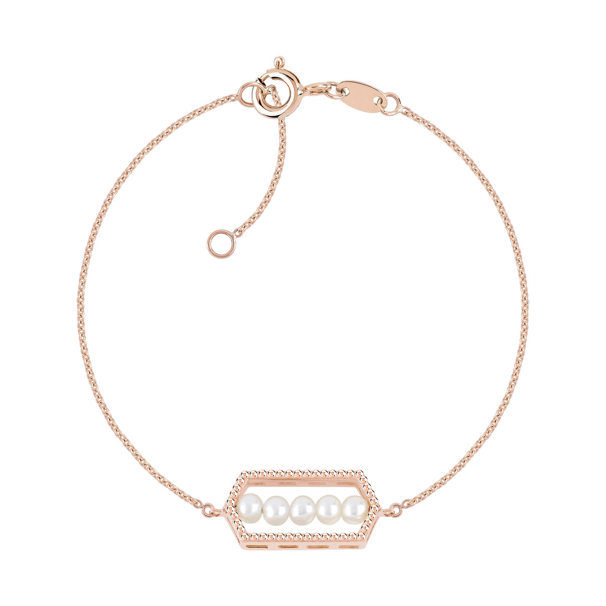 Bracelet or 375 rose perle de culture de chine - vue V1