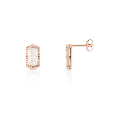 Boucles d'oreilles or 375 rose perle de culture de chine - vue V1