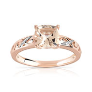 Bague or 375 rose morganite