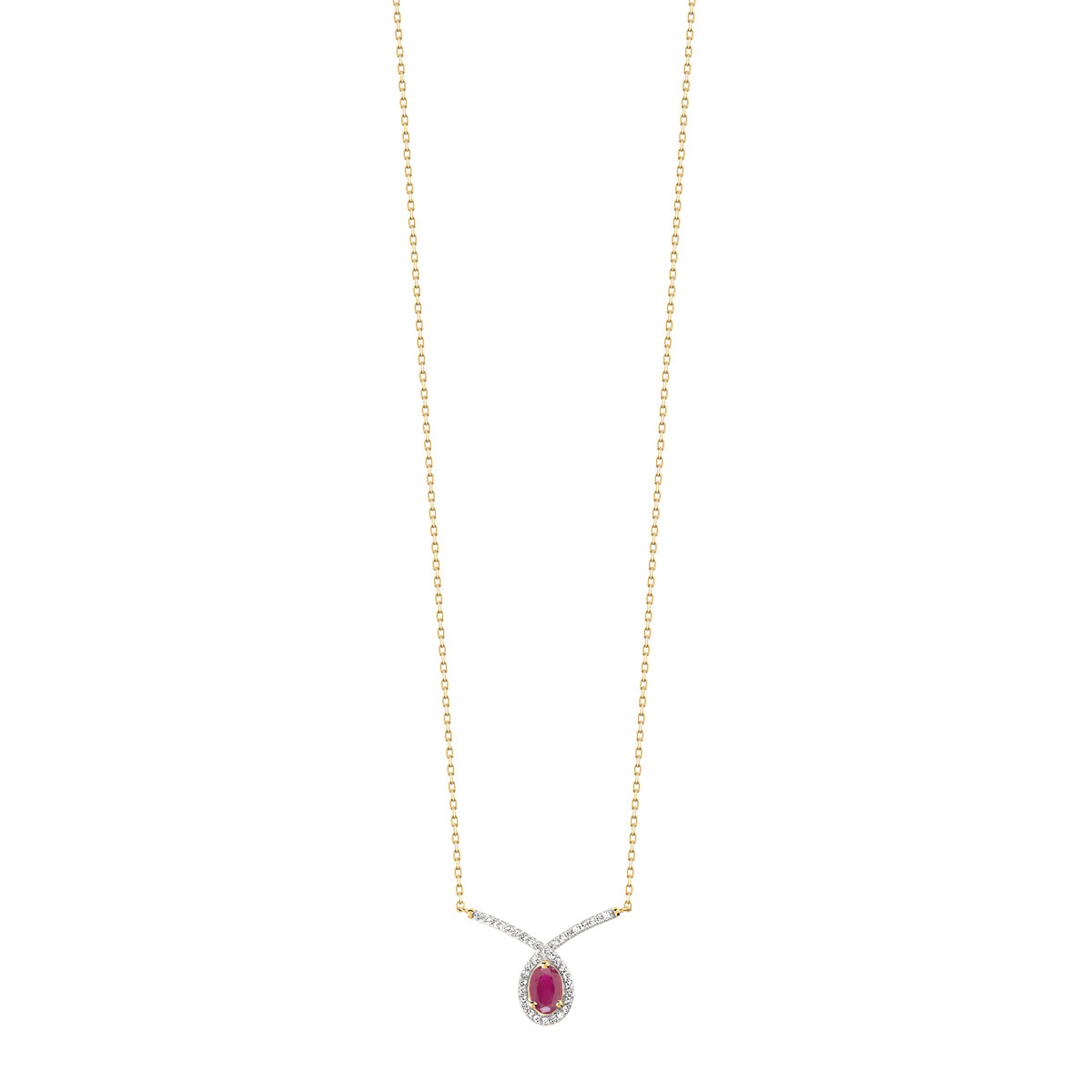 Collier or 375 2 tons rubis et diamant - vue V1