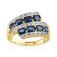 Bague or 375 2 tons saphir et diamant
