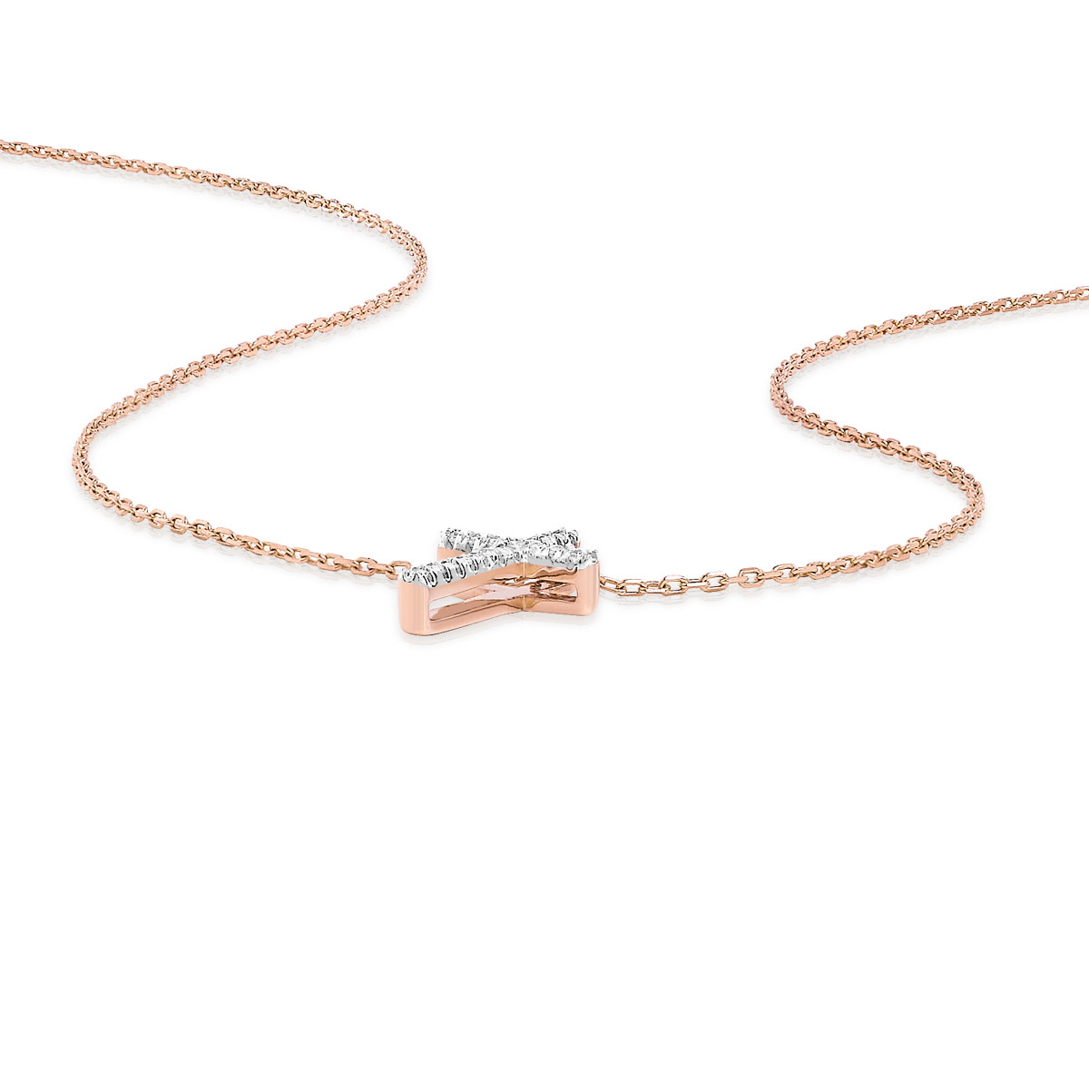 Collier or 375 rose diamant - vue VD1
