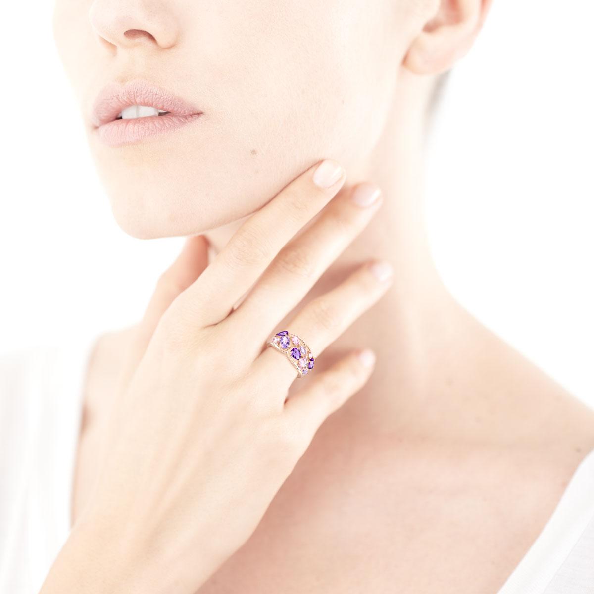 bague diamant et saphir rose