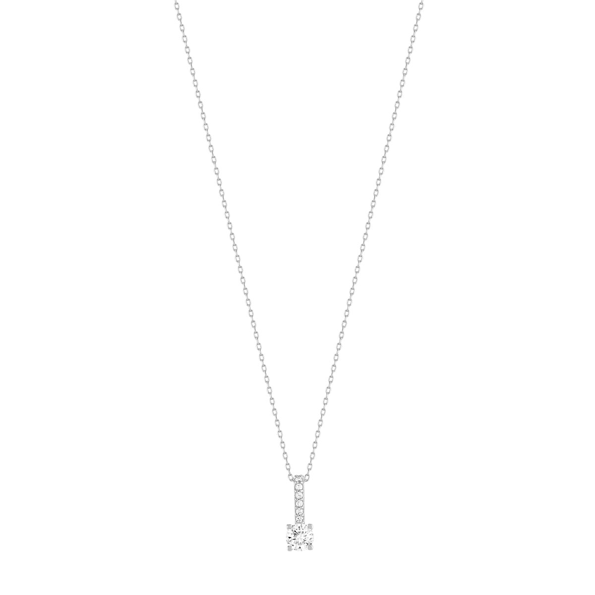 Collier or 375 blanc zirconia - vue 1