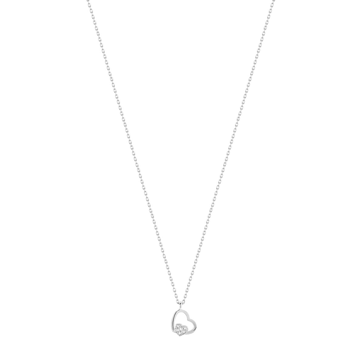 Collier or 375 blanc zirconia - vue V1