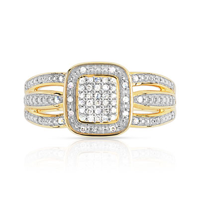 Bague or 375 2 tons diamant - vue V3