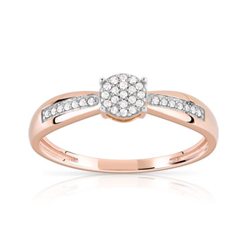 Bague or 375 rose diamant