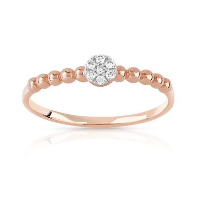 Exceptionnel Bague or 375 rose diamant - Femme - Bague | MATY EP61