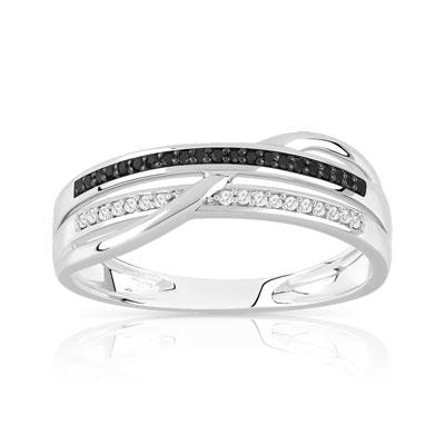 82a7a9fd30c Bague or 375 blanc diamant noir et blanc - Femme - Bague