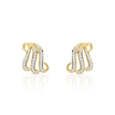Boucles d'oreilles or 375 2 tons diamants - vue D1