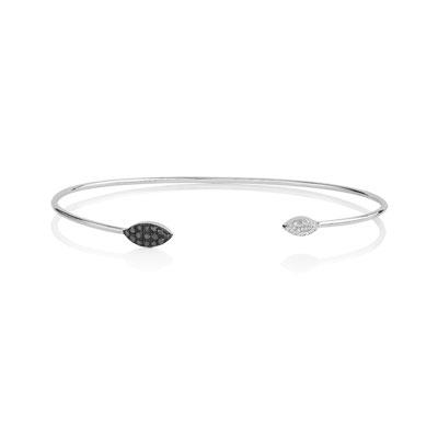 bracelet or 375 blanc diamant noir et blanc femme bracelet rigide maty. Black Bedroom Furniture Sets. Home Design Ideas