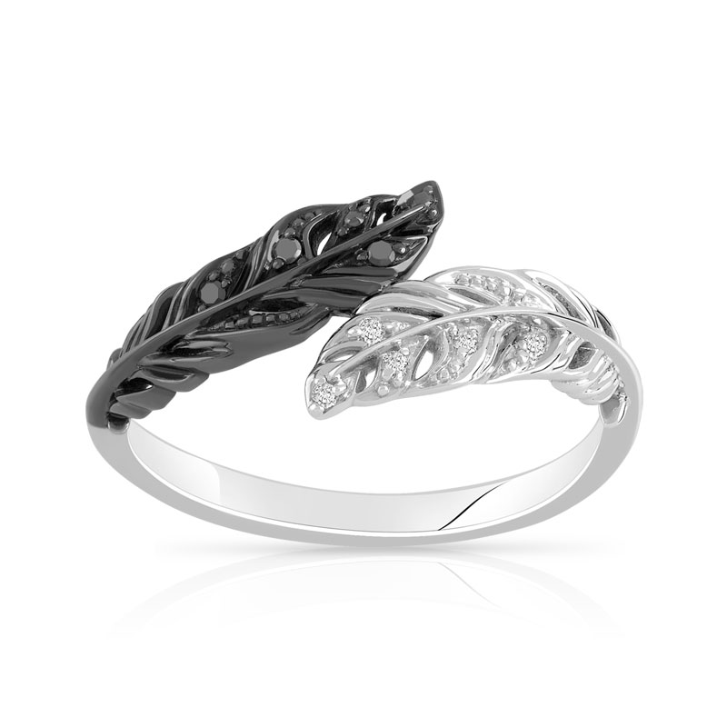 Exceptionnel Bague or 375 blanc diamant noir et blanc - Femme - Bague | MATY LT93