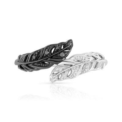 Assez Bague or 375 blanc diamant noir et blanc - Femme - Bague | MATY GD13