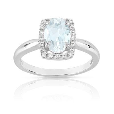 Favori Bague or 375 blanc aigue-marine et diamant - Femme - Bague | MATY GJ55