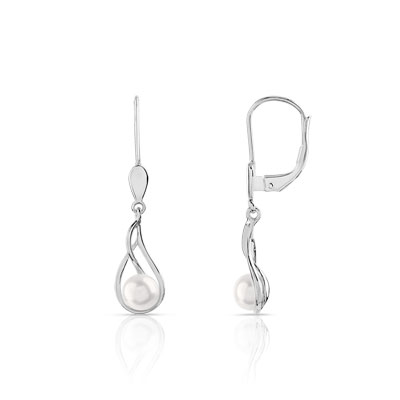 Boucles d'oreilles or 375 blanc perle de culture de chine - vue 1
