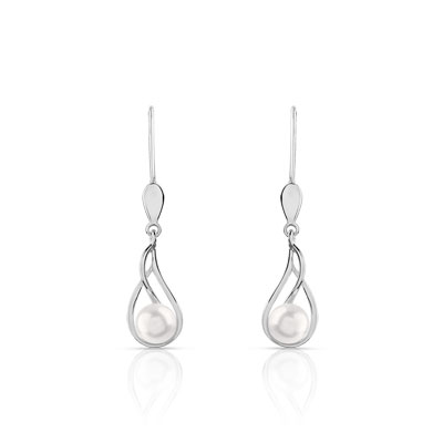 Boucles d'oreilles or 375 blanc perle de culture de chine - vue D1