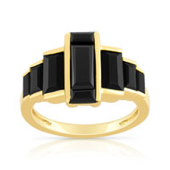 Bague or 375 jaune onyx